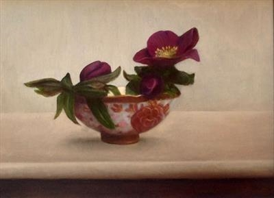 Hellebores and Patterned Bowl