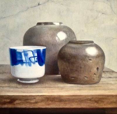Two Saltglaze Jars and Chinese Pot