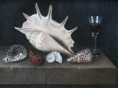 Shells and Glass on a Stone Ledge