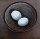 Blue Eggs in a Saltglaze Bowl by Linda Brill, Painting, Oil on Board