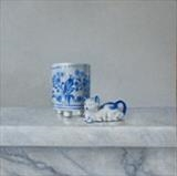 Blue and White Cat by Linda Brill, Painting, Oil on Board