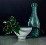 Bottle and Holly by Linda Brill, Painting, Oil on Board