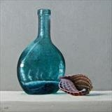 Bottle and Shell by Linda Brill, Painting, Oil on Board