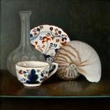 Breakfast Cup and Nautilus by Linda Brill, Painting, Oil on canvas