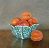 Cabbage Bowl and Apricots by Linda Brill, Painting, Oil on Board