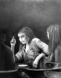 Cafe Girls by Linda Brill, Drawing, Charcoal on Paper