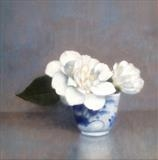 Camellias in a Coffee Cup by Linda Brill, Painting, Oil on Board