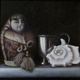 Doll and Cup by Linda Brill, Painting, Oil on Board