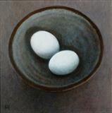 Eggs by Linda Brill, Painting, Oil on Board