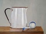 Enamel Jug and China Ladle by Linda Brill, Painting, Oil on Board