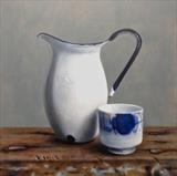 Enamel Jug and Chinese Pot by Linda Brill, Painting, Oil on Board