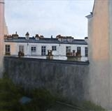 Evening - Paris Rooftops by Linda Brill, Painting, Oil on Board