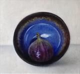 Fig in an Upturned Bowl by Linda Brill, Painting, Oil on Board