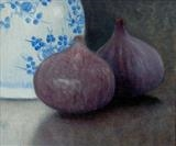 Figs and Ginger Jar by Linda Brill, Painting, Oil on Board