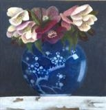 Ginger Jar and Hellebores by Linda Brill, Painting, Oil on Board