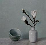 Magnolia by Linda Brill, Painting, Oil on Board