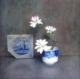Magnolia Stellata and Dutch Tile by Linda Brill, Painting, Oil on Board