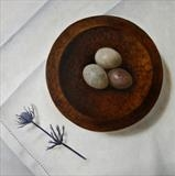 Marble Eggs in a Turned Bowl by Linda Brill, Painting, Oil on Board