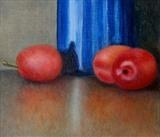 Plums and Blue Pot by Linda Brill, Painting, Oil on Board