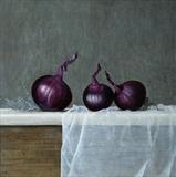 Red Onions by Linda Brill, Painting, Oil on Board