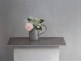 Rose and Hydrangea in a Quart Measure by Linda Brill, Painting, Oil on Board
