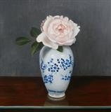 Rose in a Blue and White Vase by Linda Brill, Painting, Oil on Board