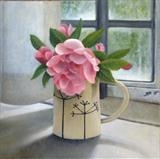 Rose in a Coriander Jug by Linda Brill, Painting, Oil on Board