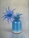 Sea Holly in a Raku Pot by Linda Brill, Painting, Oil on Board