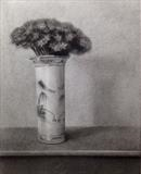Sedum in a Blue and White Pot by Linda Brill, Drawing, Charcoal on Paper