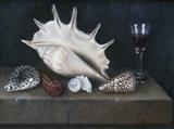 Shells and Glass on a Stone Ledge by Linda Brill, Painting, Oil on Board