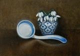 Snowdrops and Ladle by Linda Brill, Painting, Oil on Board