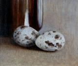 Speckled Eggs and Brown Bottle by Linda Brill, Painting, Oil on Board