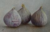 Three Figs by Linda Brill, Painting, Oil on Paper