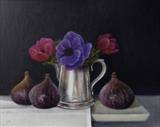 Three Figs and Anemonies by Linda Brill, Painting, Oil on Board