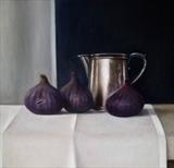 Three Figs and a Silver Jug by Linda Brill, Painting, Oil on Board