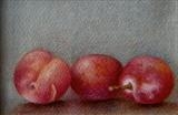 Three Plums by Linda Brill, Painting, Oil on Paper