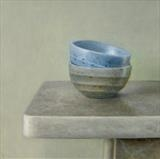 Two Bowls by Linda Brill, Painting, Oil on Board