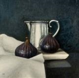 Two Figs and Silver Jug by Linda Brill, Painting, Oil on Board
