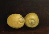 Two Lemons by Linda Brill, Painting, Oil on Board
