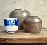 Two Saltglaze Jars and Chinese Pot by Linda Brill, Painting, Oil on Board