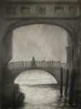 Venice Bridge of Sighs by Linda Brill, Drawing, Charcoal on Paper