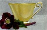 Yellow Cup and Hellebore II by Linda Brill, Painting, Oil on Board