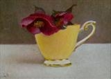 Yellow cup and Hellebore by Linda Brill, Painting, Oil on Board